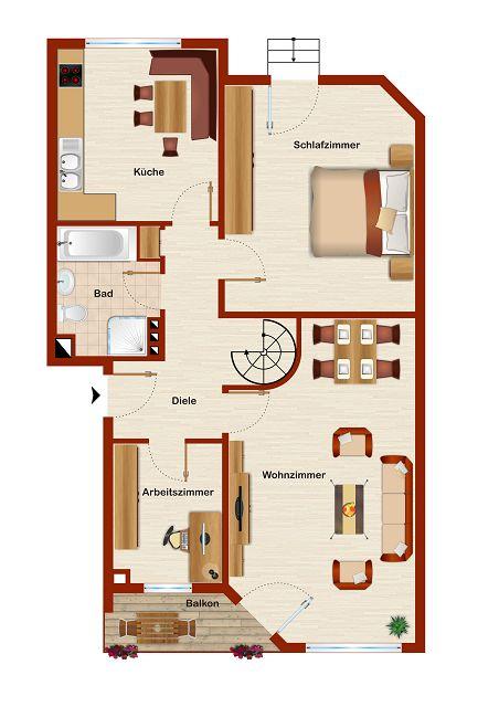 Wohnzimmer Wohnung Grundriss ~ Beste Bildideen zu Hause Design